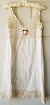 Antique Vintage Cotton Teddy Imperial Underwear - White and Lace