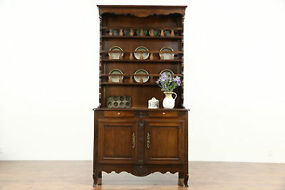 Oak 1840 Antique French Provincial Pewter Cupboard, Sideboard or Welsh Dresser