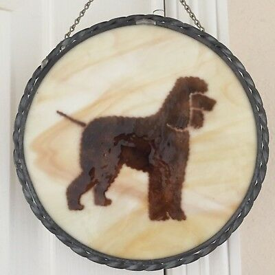 Irish Water Spaniel Stained glass window pane