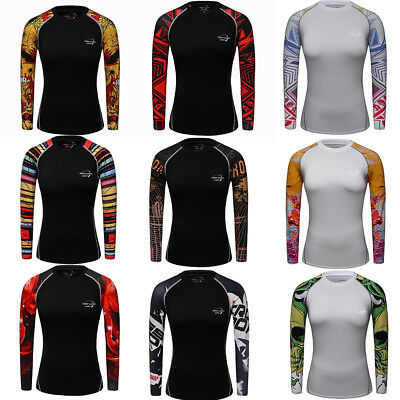Womens Workout Compression T shirts Yoga Fitness Cycling Tops Long Sleeve Tights