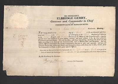 1811 Elbridge Gerry Signed Document Signor of Declaration Independence PSA