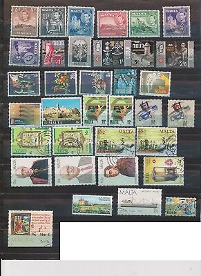 (K44-25) 1940-80s Malta mix of 35 stamps valued to 2/6d