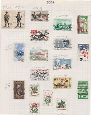 (K44-4) 1964 USA mix of 19 stamps valued to 8c (D)