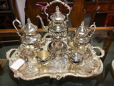 Birmingham Silver Antique English Coffee And Tea Set Silverplate Six Pieces
