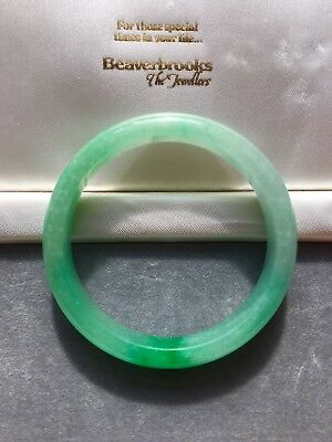 Chinese Carved Natural Apple Green Jade Jadeite Bangle, Not Treated.