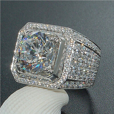 18K White Gold Silver ETERNITY Wedding Band MICROPAVE CZ Iced Out Mens Ring