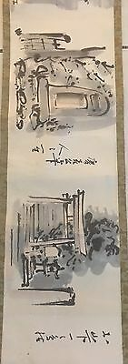 Poetry Scroll Watercolor & Ink Asian Taisho or Showa Signed Stamped Boxed 24'