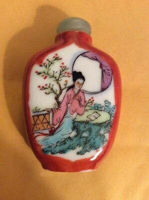 Antique Chinese Red Letter Marked Snuff Bottle Jade Top