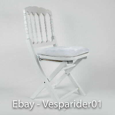 117 - White Napoleon Wood Folding Chair w/ Padded Seat - Wedding Chairs