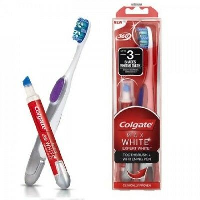 Colgate Max White Toothbrush and Whitening Pen 360 Expert 3 Shades Whiter