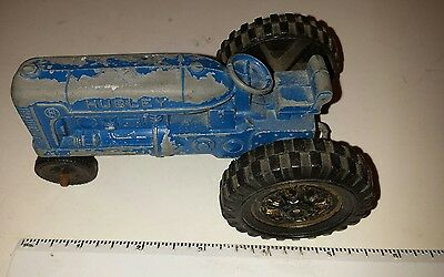 Rare Blue Cast Metal  Row-Crop Farm Tractor-Made By Hubley- Plastic Tires- Nice