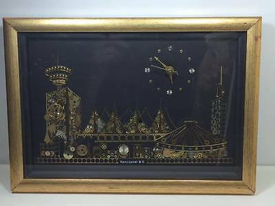 Hand made steam punk wall clock Vancouver cityscape made in Canada