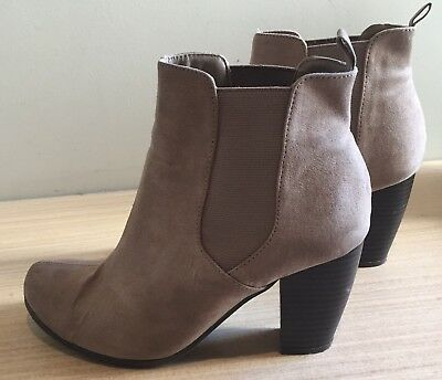 Now - Women's Size 8 Taupe Ankle Heeled Boots