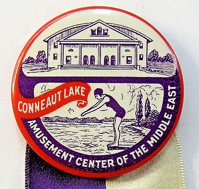 1928 Conneaut Lake Park PENNSYLVANIA ELKS CONVENTION pinback button & ribbon +