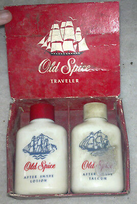 Old Spice Traveler gift set aftershave lotion and talc in glass antique vintage
