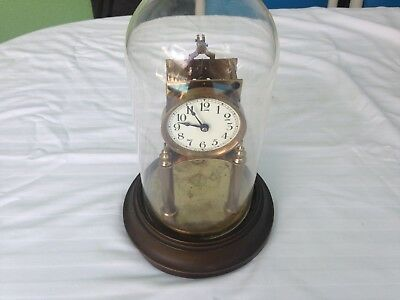 Vintage Gustav Becker GERMAN ANNIVERSARY CLOCK with PLASTIC DOME  (parts only)