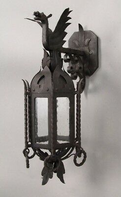 Spanish Revival Custom Wrought Iron Exterior Gothic Lantern w/ Dragon (10634)