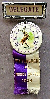 great graphics 1924 DELEGATE PITTSBURGH ELKS pinback button & ribbon +