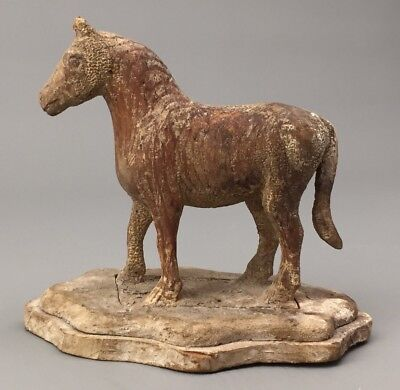 Hand Carved Horse FOLK ART Toy Statue Pony Figure Antique VTG Painted American