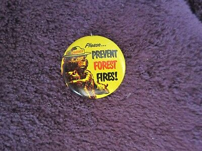 Vintage Original SMOKEY THE BEAR PINBACK PIN 1960s Please Prevent FOREST FIRES