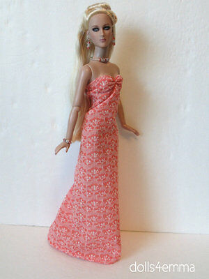 "TYLER 16"" DOLL CLOTHES Peach Gown & Jewelry Sydney Handmade Fashion NO DOLL d4e"