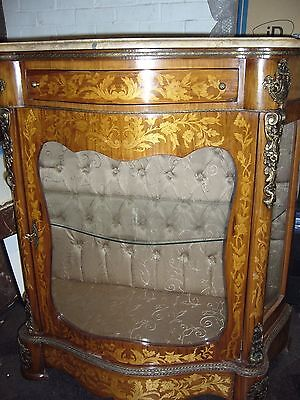 Antique Display Cabinet with Marble Top. Copy influenced,Italian, Dutch, French.