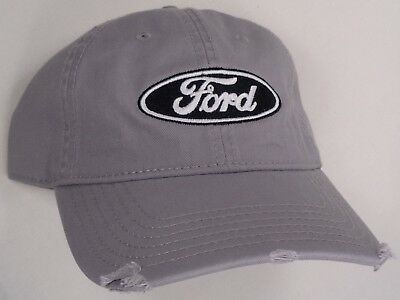 Hat Cap Licensed Ford Mustang W// Pony Grill Emblem Grey // White