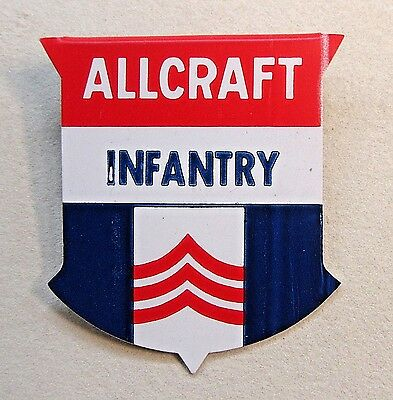 1940's WWII ALLCRAFT INFANTRY Home Front badge pinback button +