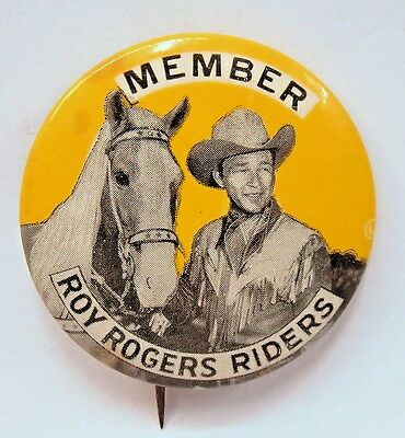 "cowboy MEMBER ROY ROGERS RIDERS yellow 1.75"" pinback button TV movies Western *"