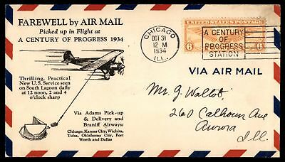 Mayfairstamps CHICAGO IL OCT 31 1934 FAREWELL BY AIR MAIL BRANIFF AIRWAYS AIR MA