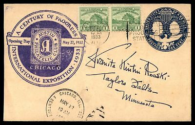 Mayfairstamps CHICAGO IL INTL EXPO OPENING DAY MAY 27 1933 PURPLE CACHET ON COVE