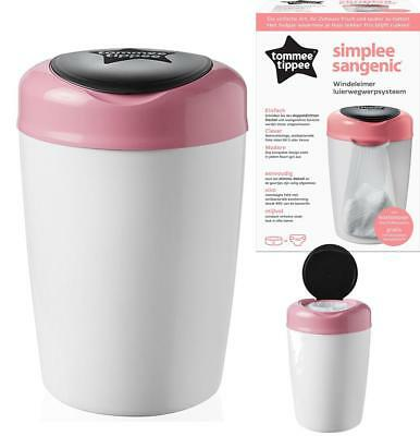 Tommee Tippee Simplee Sangenic Baby Nappy Diaper Disposal System Tub Bin (Pink)