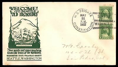 Mayfairstamps SEATTLE WA WELCOMES OLD IRONSIDES MAY 31 1933 GREEN CACHET & SLOGA