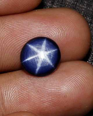 5.40Cts NATURAL SIX RAYS PLAYED BLUE STAR SAPPHIRE ROUND CABOCHON LOOSE GEMS