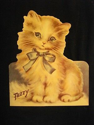 "Vintage 1947 Rust Craft ""FUZZY"" CAT large stand-up card BOSTON"