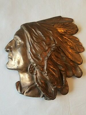 Vintage - Antique Bronze Indian Head Wall Relief Plaque -  Signed & Dated 1930