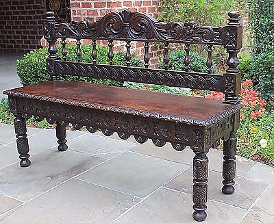 Antique English Carved Oak Renaissance Revival Entry Hall Bench Settee Banquette