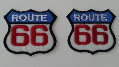 "2 pcs Route 66 RED WHITE BLUE BIKER EMB.PATCH 2-1/8x2"" IRON/SEW-ON"