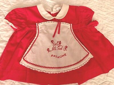 Vintage Style Red & White Dress. ~Size 3 Months  Measurements Given