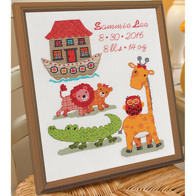 """Two By Two Birth Record Counted Cross Stitch Kit-10""""X13"""" 14 Count 46360"""