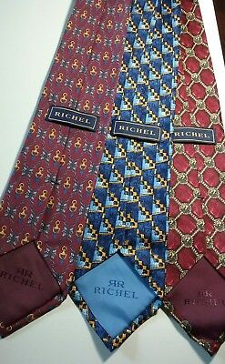 Lot of 3 Richel Red and Blue Geometric Pure Silk ties Made in Spain