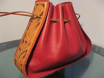 Vtg Hand Tooled Red Leather Purse Drawstring Hand Bag 1940s Western boho Dress