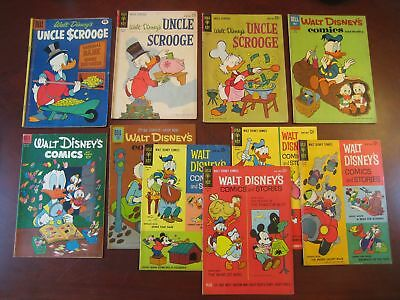 old Walt Disney 10 comic lot - Uncle Scrooge Carl Barks - 12 cent covers - VG+