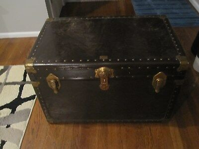 ANTIQUE STEIGER OF NYC STEAMER TRUNK/AUTHENTIC 1910-1920,with key