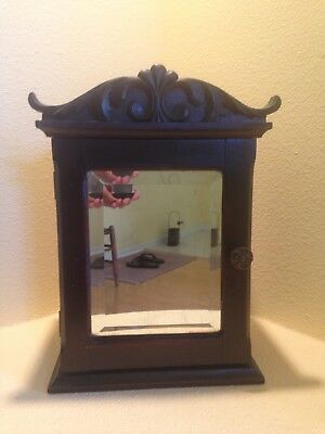 Antique C1880 Counter Or Wall Medicine  Cabinet W/ Beveled Glass Mirror