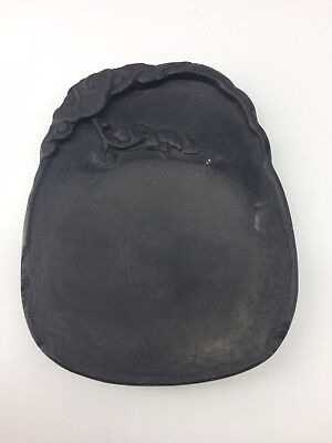 Antique Duan Chinese Ink Stone with bat & clouds, E&J Frankel Collection sticker