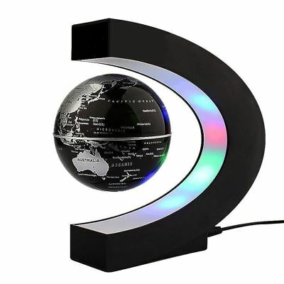 Floating Globe Rotating World Map Earth Planet Ball with C Shaped Magnetic...