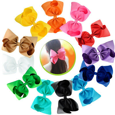 12pcs 8 Inches Super Big Huge Hair Bows Girls Children Women Alligator Hair Clip
