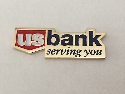 """New US BANK Silver, Red, & Blue Magnetic Pin! Very Rare! """"US Bank Serving You"""""""