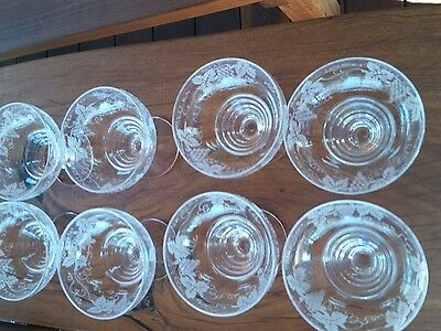 VINTAGE SET OF 8 STUART-CRYSTAL-wine leafs ETCHED-DESSERT-BOWL